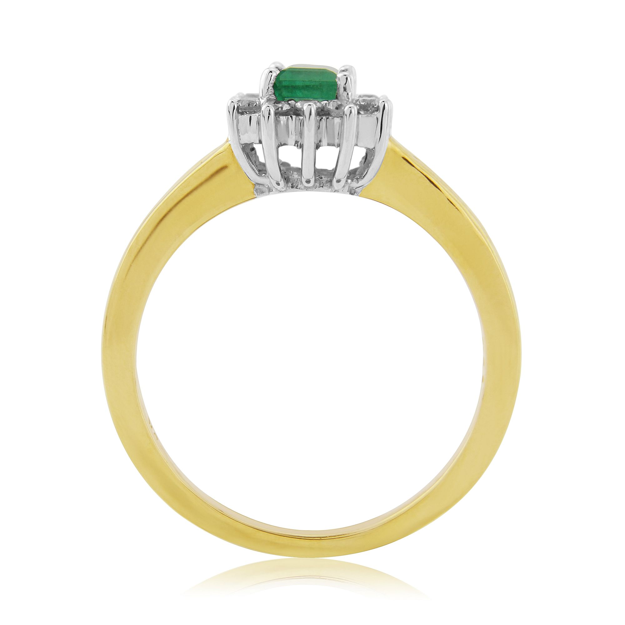 emerald and 9 carat yellow gold half eternity ring